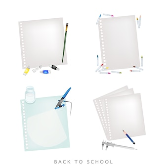 Various colors and pencils with blank spiral paper