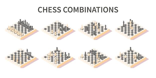 Varie combinazioni di pezzi sull'insieme isometrico 3d della scacchiera sull'illustrazione isolata bianca