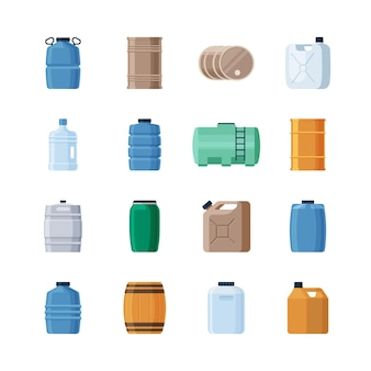 Набор различных контейнеров для жидкости.