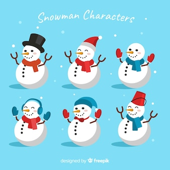 Various costumes for snowman flat design