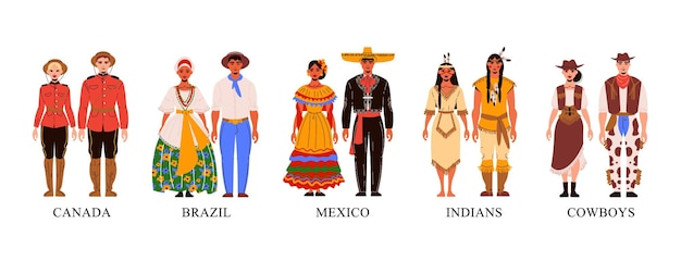 Various couples wearing traditional clothes illustration