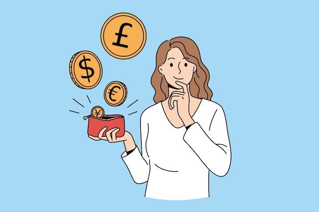 さまざまな通貨とお金の概念。異なるコインを飛んで赤い財布を持って立っている若い笑顔の女性漫画のキャラクターベクトルイラスト