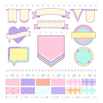 Различные милые и девчачьи элементы дизайна векторов