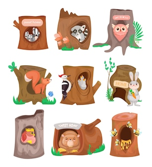 Various cute animals in hollows flat set.