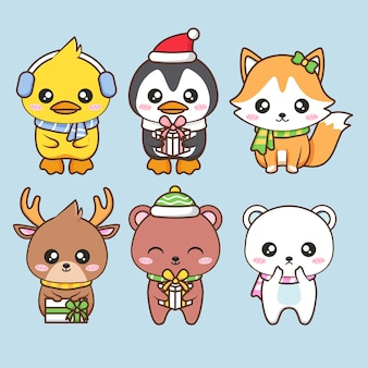 Various cute animals wear winter costume
