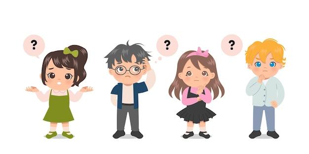 다양한 귀여운 소년과 소녀는 의심과 잠겨있는 세트입니다. 물음표. 평면 디자인.