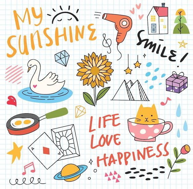 Various cute doodles elements