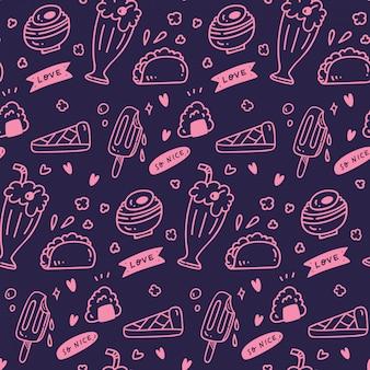 다양 한 귀여운 음식과 음료 원활한 패턴