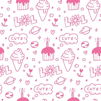 Various cute food seamless pattern