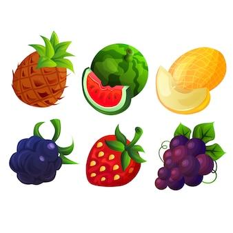 다양한 귀여운 과일 세트