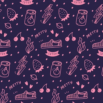 Various cute girly stuff seamless pattern