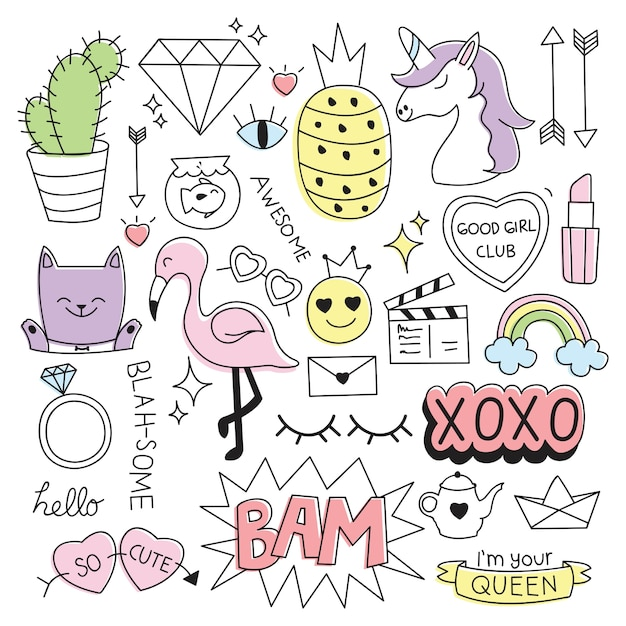 Various cute things in doodle style vector illustration