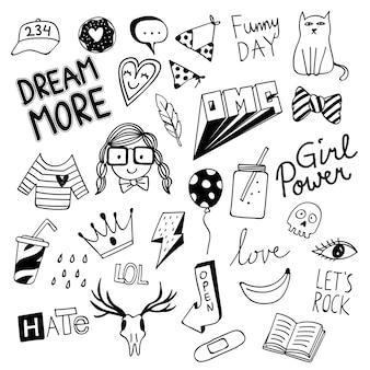 Various cute things in doodle style