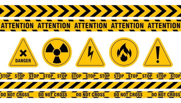 Various danger ribbon and sign set
