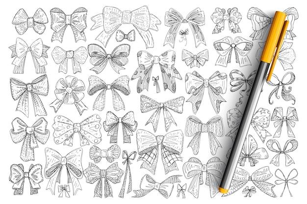 さまざまな装飾的な弓の落書きセット。プレゼントや孤立した髪を飾るためのテキスタイルやリボンで作られた手描きのエレガントな弓のコレクション。