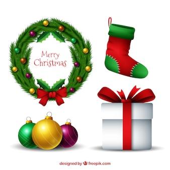 다양한 장식 크리스마스 요소