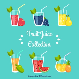 フラットデザインの様々なおいしいフルーツジュース