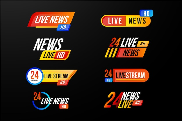 Various design for live steams news banners