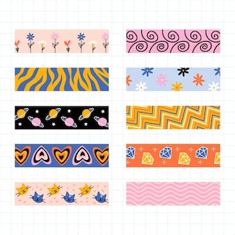 Various designs for scrapbook tape