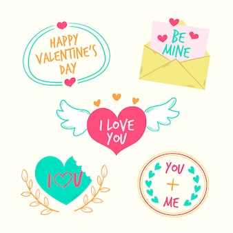 Various designs for valentine's day badges