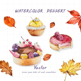Various desserts painted with watercolors