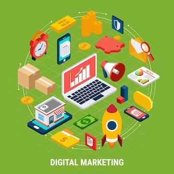 Various digital marketing on green 3d illustration