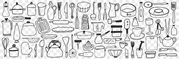 다양한 요리와 주방기구 낙서 세트. 손으로 그린 도마, 강판, 식기, 주전자 커피 포트, 요리 팬, 고립 된 부엌 용기 컬렉션