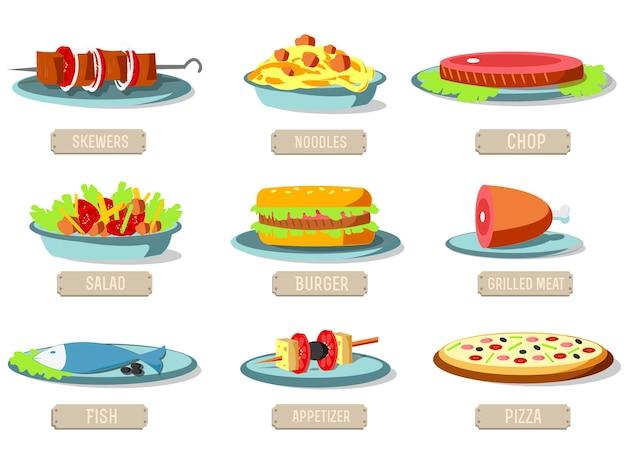 様々な料理アイコンセットコンセプト