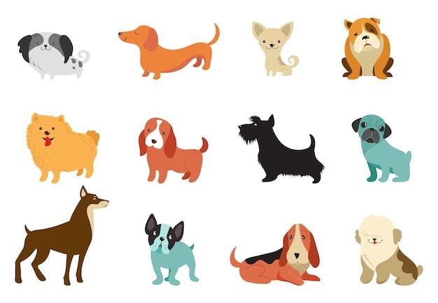 さまざまな犬-ベクトルイラストのコレクション。面白い漫画、さまざまな犬種、フラットスタイル