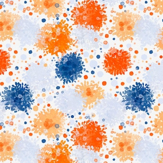 Various dot sizes abstract watercolor seamless pattern