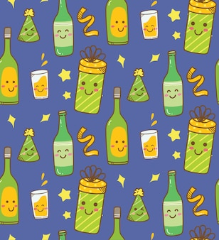 Various drink kawaii background
