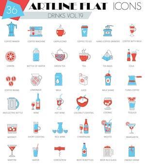 Various drinks flat line icons set