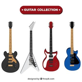 Various electric guitars in flat design