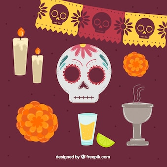 Various elements of day of the dead