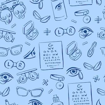 파란색 배경의 매끄러운 패턴에 있는 검안, 렌즈, 눈, 안경의 다양한 요소. 그어진. 낙서 벡터 배경입니다.