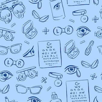 Various elements of optometry, lenses, eyes, glasses on a blue background seamless pattern. drawn. doodle vector background.