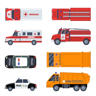 Various emergency vehicles flat icon set