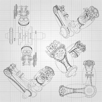 さまざまなエンジンコンポーネント、ピストン、チェーン、ノズル、バルブが線と輪郭の形で描かれています。アセンブリと部品の3d図面。
