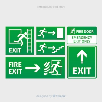 Various exit signs