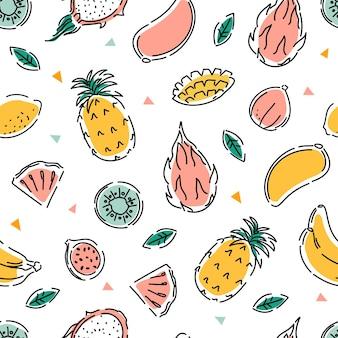さまざまなエキゾチックなフルーツのシームレスなパターン健康食品