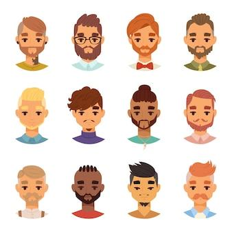 様々な表情のひげを生やした男顔アバターファッションヒップスター髪型頭人口ひげ