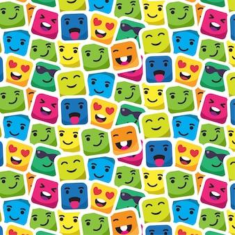 さまざまな顔の絵文字シームレスパターン