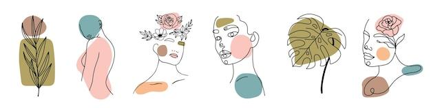 さまざまな顔、葉、体、抽象的な形。水墨画風。現代的な手描きのベクトルイラスト。連続ライン、ミニマルでエレガントなコンセプト。すべての要素が分離されています