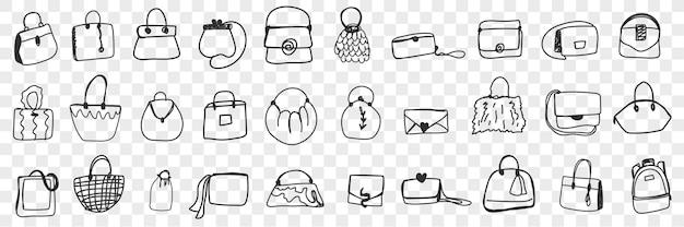 다양한 여성 가방 낙서 세트. 손으로 그린 가방 바구니와 다양한 스타일과 모양의 클러치 컬렉션입니다.