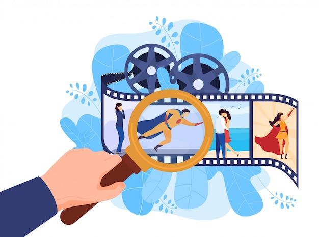 다양한 영화 슈퍼 히어로, 로맨틱 영화, 액션 시네마 개념, 흰색, 그림. 촬영법을 검토하십시오.