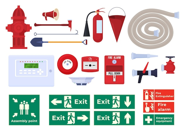 Различные огнетушители топор пожарный гидрант пожарная сигнализация знаки эвакуации