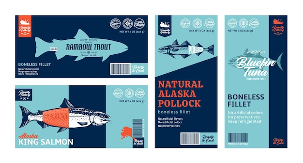 다양한 물고기 수평 및 수직 레이블 프리미엄 벡터