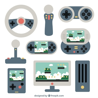 Various flat accessories for console gamers Free Vector