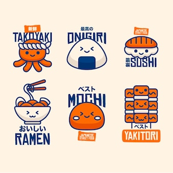 Various flat design street food logo
