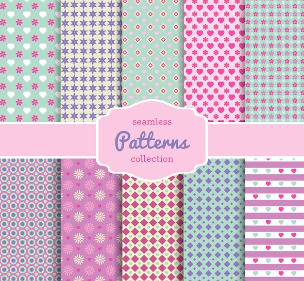 Various floral pattern paper collection for scrapbooking in pastel shades